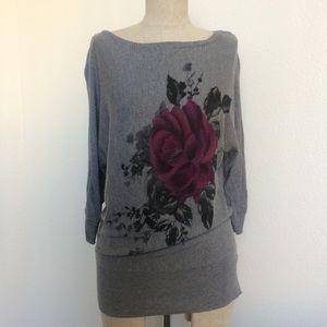 Gray Dolman Rose Sweater